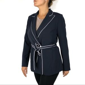 1901 Blue White Trimmed Belted Blazer Jacket Small
